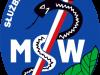 logo szpitala MSW - znajduje się na nim Wąż i Laska Hipokratesa na niebieskim tle